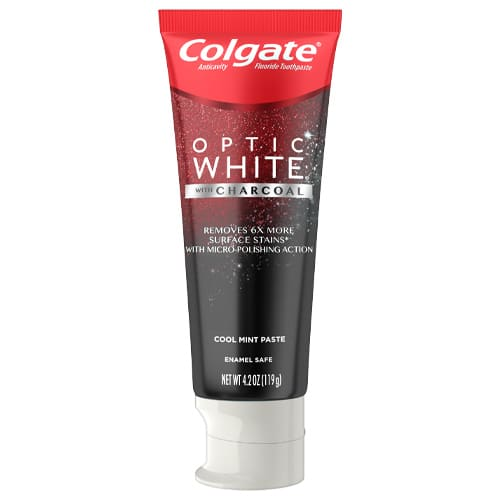 Colgate Optic White Teeth Whitening Charcoal Toothpaste, Cool Mint