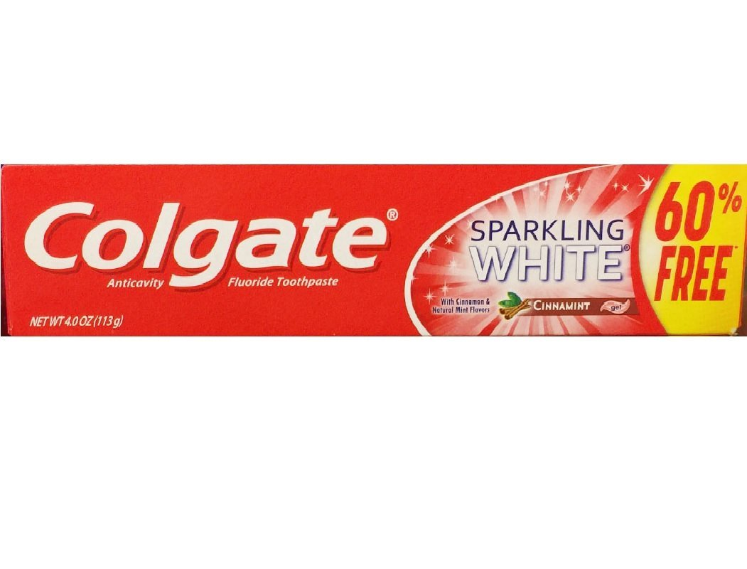 Colgate Anticavity Fluoride Toothpaste Sparkling White Cinnamint with Cinnamon & Natural Mint Flavor Gel