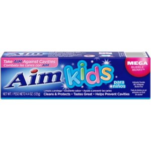 Aim Kids Gel Fluoride Toothpaste, Mega Bubble Berry